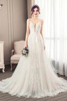 A Riadok Hlboký výstrih Viacvrstvový Cirkevné Elegantné Svadobné šaty