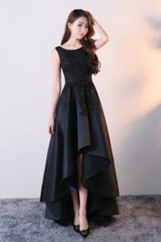 Asymetrické Satén Bez rukávov Formálne Asymetrické Prom Obleko