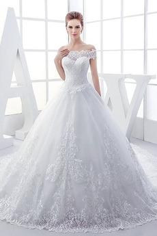 Kráľovský vlak Letné Satén Klasický Prírodné pása Svadobné šaty