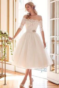 Vonkajšie Polovica rukávmi A linka Letné Ilúzia rukávmi Svadobné šaty