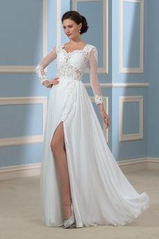 Čipka Dlhými rukávmi Čipkou Overlay Letné Prednej štrbinou Svadobné šaty