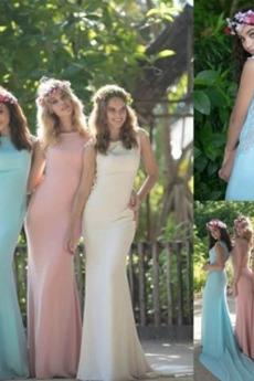 Čipka Prírodné pása Čipka S hlbokým výstrihom Elegantné Družičky šaty