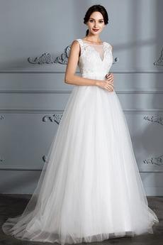 Čipka Pružina Čipka A-Riadok Elegantné Bateau Pláž Svadobné šaty