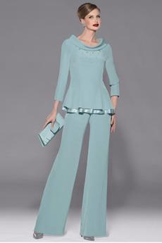 Tričko Šifón Elegantné S nohavice Širokým hrdlom Matka šaty obleky