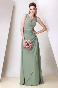 Šifón A Riadok Skladaný živôtik Elegantné Svadobné Družičky šaty