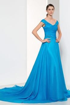 S hlbokým výstrihom Chýbať Prírodné pása Šifón Elegantné Večerné šaty 3af0567ef4
