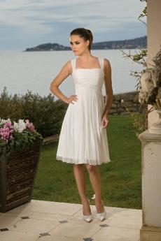 Kolená A-Riadok Skladaný Šifón Letné Skladaný živôtik Svadobné šaty