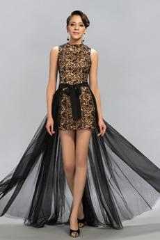 Vysoká krk Lúk S hlbokým výstrihom Elegantné Čipka Stužková Šaty