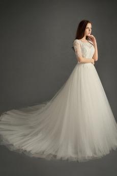 2a472b20090a Tyl Off rameno Elegantný Sála Ilúzia rukávmi Čipkou Overlay Svadobné šaty