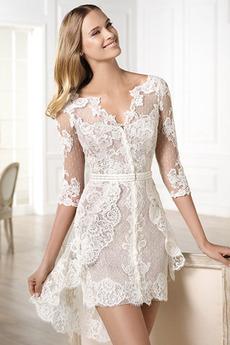 Pošva Ilúzia rukávmi Tri štvrtiny rukávy Letné Svadobné šaty