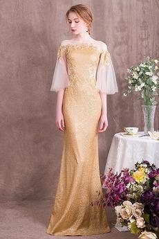 Flitre A Riadok Krátke rukávy Pružina Drobunký korzet s flitrami Večerné šaty