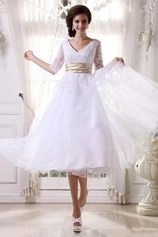 Princezná Prekrývajúci sa živôtik Romantické Nevestin obleko