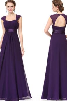 Šifón Elegantné Krátke rukávy Zamiesť vlak Kľúčová dierka späť Večerné šaty