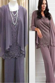 Elegantné Vysoká zahrnuté Širokým hrdlom Šifón Matka šaty obleky