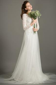 Dĺžka podlahy Prírodné pása Elegantný Nášivky Zips hore Svadobné šaty