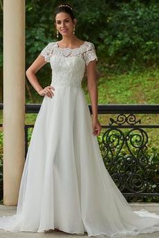 Krátke rukávy A Riadok Vysoká krytia Obdĺžnik Prírodné pása Svadobné šaty