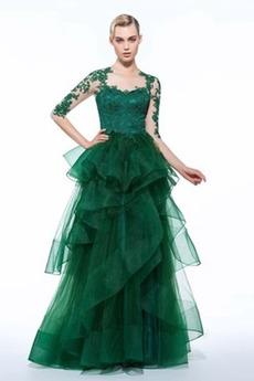 Elegantné Prírodné pása Číre zadné Vyšívanie Šperk Večerné šaty