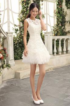Čipka Tyl Zips hore Okázalý Krátke Vonkajšie Prírodné pása Svadobné šaty