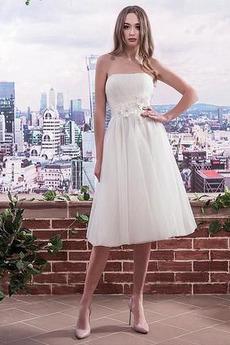 S hlbokým výstrihom Elegantný Obdĺžnik Skladaný živôtik Svadobné šaty