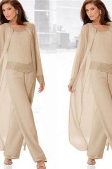 Šifón Elegantné Oblek Dlhými rukávmi Dvojdielne Matka šaty obleky