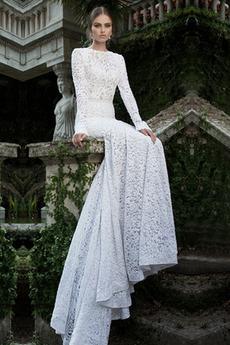 Dlhými rukávmi Vinobranie Námornej službe Vonkajší Svadobné šaty