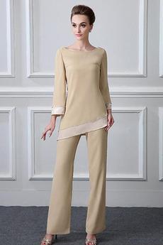 Bateau Tričko Obdĺžnik Šifón Dlhými rukávmi Matka šaty obleky