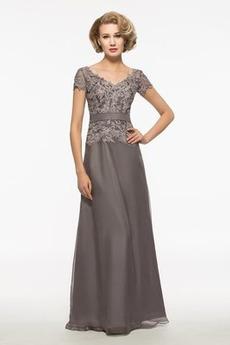 Prírodné pása Čipkou Overlay Šifón Elegantné Obrad Matné šaty