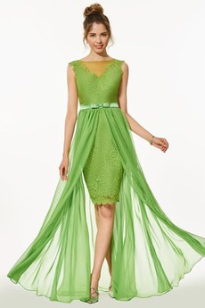 Elegantné Asymetrické Zavesený Večierok Prírodné pása Stužková Šaty
