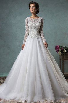 Dlhými rukávmi Kaplnka vlak Prírodné pása Ilúzia rukávmi Svadobné šaty