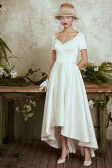 Tričko V krku Zašnurovať topánky Pružina Asymetrické Svadobné šaty