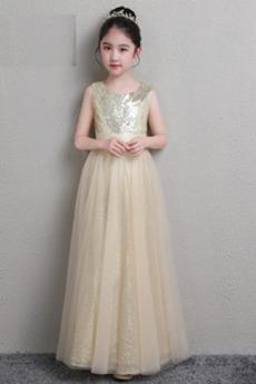 Elegantný Flitre Klenot Bez rukávov Vyšívaný korzet Kvetinové šaty