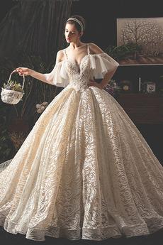 Off rameno A Riadok Luxusným Prírodné pása Bez rukávov Svadobné šaty