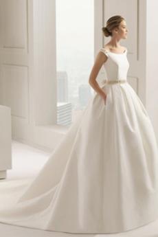 Luk Sála Atlas Beaded pásu A linka Formálne Prírodné pása Svadobné šaty