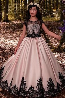 Čipka Krátke rukávy Dĺžka podlahy Šperk S hlbokým výstrihom Kvetinové šaty