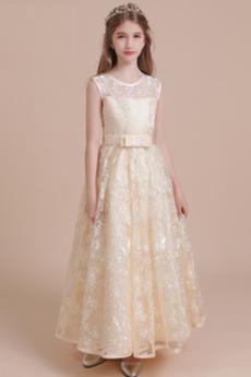 Šperk Lopta Čipka Bez rukávov A Riadok Elegantné Kvetinové šaty