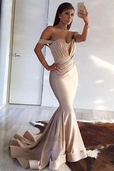 Morská panna Zips nahor Jednoduché Off rameno Skladaný živôtik Večerné šaty