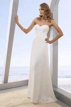 Ríša Biely Šifón Pláž Očarujúce Navliekanie korálok Svadobné šaty