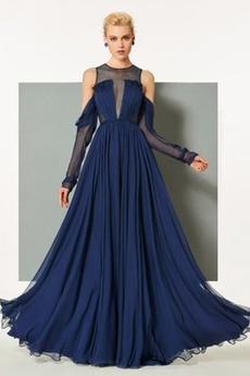 Šou Dlhými rukávmi Elegantné Ilúzia rukávmi Zavesený Večerné šaty