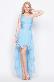 Stredná späť Asymetrické Jedno rameno Šifón Romantické Večerné šaty