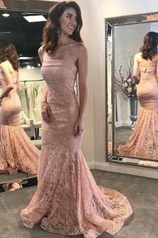 Bez ramienok Elegantné Čipka Zips hore Večierok Večerné šaty