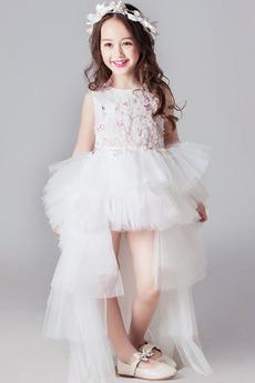 Asymetrické Romantické Asymetrické Klenot Chýbať Kvetinové šaty
