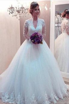 Dlhými rukávmi Hlboký výstrih Letné Kráľovná Anna Svadobné šaty