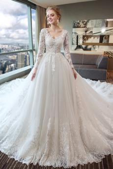 Dlhými rukávmi Čipkou Overlay Dlho Nášivky Elegantné Svadobné šaty