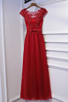 Klasický Krátke rukávy Letné A Riadok Prírodné pása Družičky šaty