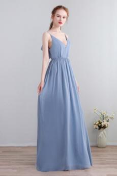 Šifón Kaskádové A Riadok V krku Prírodné pása S hlbokým výstrihom Družičky šaty