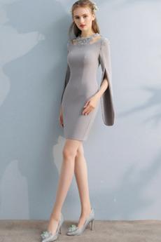 Šperk Zips hore Básnik rukávmi Tenký Pošva Prírodné pása Koktejlové šaty