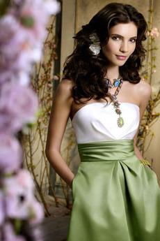 Bez ramienok Prírodné pása Lacný Satén A-Riadok Družičky šaty
