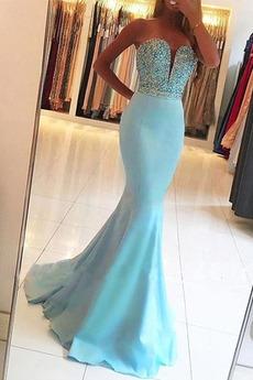 Morská panna Bez rukávov Spandex Dlhé Letné Luxusným Večerné šaty