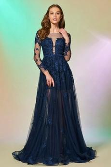 Formálne A Riadok Zavesený Večierok Široký plytký výstrih Večerné šaty