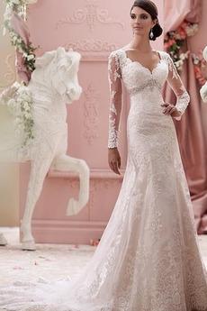 Morská panna Ilúzia rukávmi Beaded pásu Kostol Svadobné šaty